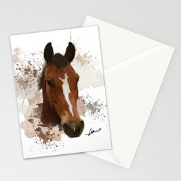 Brown and White Horse Watercolor Stationery Cards