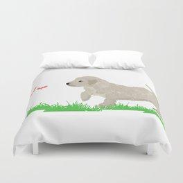 Cockapoo dog art cream Duvet Cover
