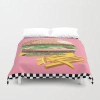 burger Duvet Covers featuring Burger by Kozza