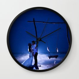 Married Couple Embraces On The Beach (Wedding) Wall Clock