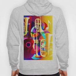 Colorful music instruments with guitar, trumpet, musical notes, bass clef and abstract decor Hoody