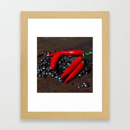 Hot Chilly and Coffee Beans Framed Art Print