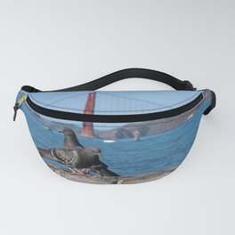 Golden Gate Bridge San Francisco Photography, Pigeons in the City, California Wall Art Fanny Pack