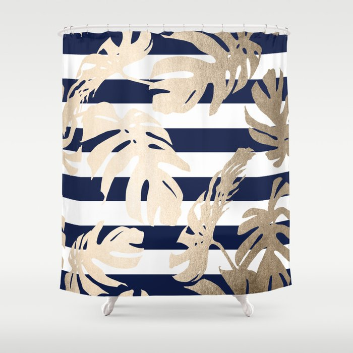 Simply Tropical Palm Leaves On Navy Stripes Shower Curtain