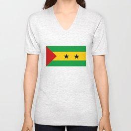 Sao Tome and Principe country flag Unisex V-Neck
