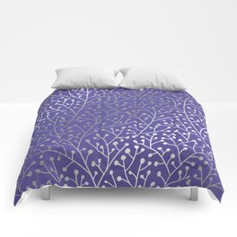 Periwinkle Berry Branches Comforters
