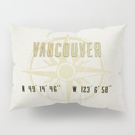 Vancouver - Vintage Map and Location Pillow Sham