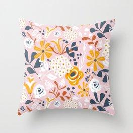Darcy - Boho Floral Pink Throw Pillow