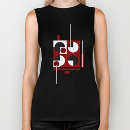 Geometric/Red-White-Black  1 Biker Tank