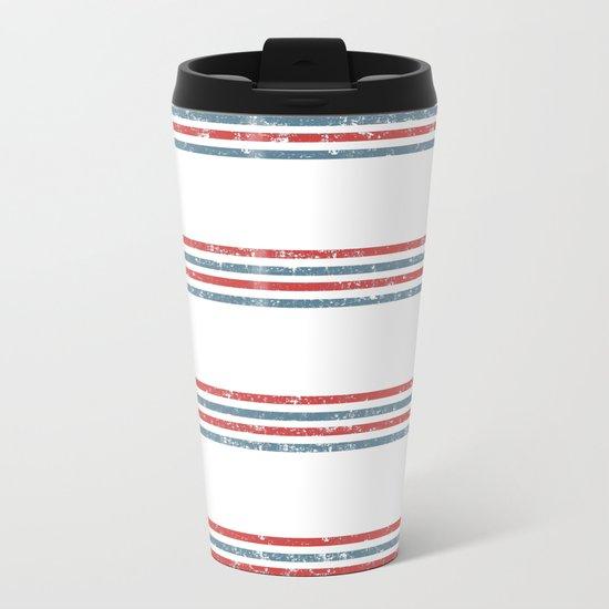 Maritime Beach Pattern- Red and Blue Stripes on White- Horizontal #Society6 Metal Travel Mug