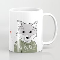 furry Mugs featuring Furry Fox by Christina Heitmann