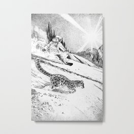 Snowboarder and snow leopard down the slope Metal Print