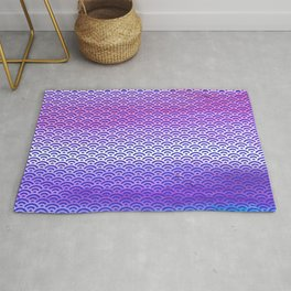 Candy Pop/Navy Blue Watercolor Seigaiha Pattern Rug