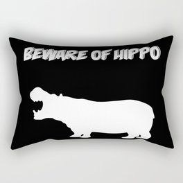 Beware of Hippo-Black Background Rectangular Pillow