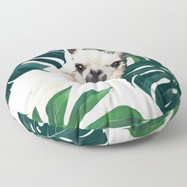 Sneaky Llama with Monstera Floor Pillow