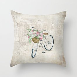 Vintage bicycles with roses basket Throw Pillow