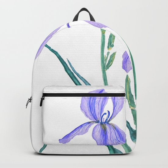 vintage purple iris watercolor Backpack