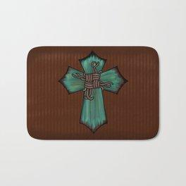 Rustic Turquoise Cross Bath Mat