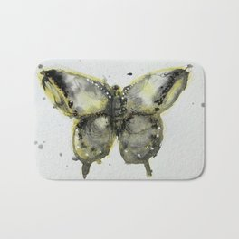 Yellow and Gray Butterfly Bath Mat