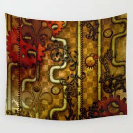 Noble Steampunk design, clocks and gears Wall Tapestry