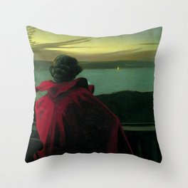 The Longing, Daybreak, Woman in Red coastal landscape painting by Harald Slott-Møller Throw Pillow