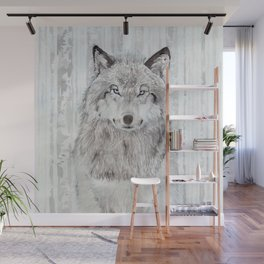 """Watercolor Painting of Picture """"Wolf"""" Wall Mural"""