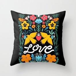 Love bird garden Throw Pillow