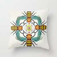 bee Throw Pillows featuring bee by Manoou