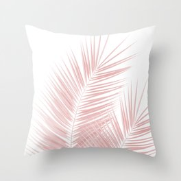 Blush Pink Palm Leaves Dream - Cali Summer Vibes #1 #tropical #decor #art #society6 Throw Pillow