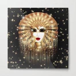 Golden Venice Carnival Mask  Metal Print