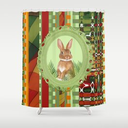Bunny in green frame with geometric background stripes Shower Curtain