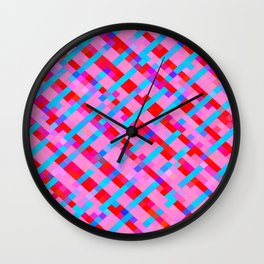 geometric pixel square pattern abstract background in pink blue red Wall Clock
