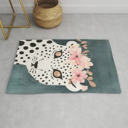 Flower Crown Leopard Rug