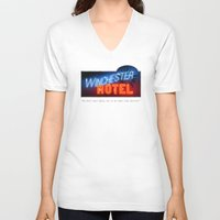 winchester V-neck T-shirts featuring Winchester Hotel by quickreaver