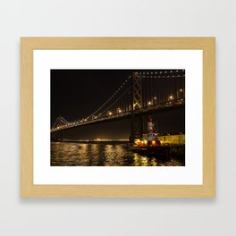 Bay Bridge Fire Boat at Night Framed Art Print