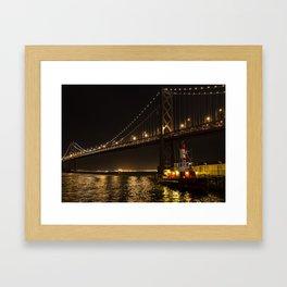 Bay Bridge Fire Boat at Night Framed Art Print