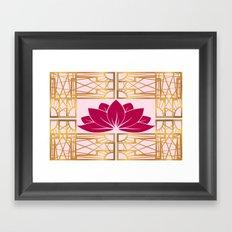 Art Deco Retro Lotus (cerise) Framed Art Print
