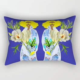 Faces on Her Dress Rectangular Pillow