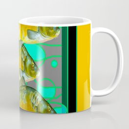 MODERN ART GREEN & OCHER DECORATIVE THREE FISH Coffee Mug