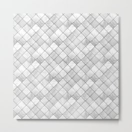 Faux Patchwork Quilting - White & Silver Pattern Metal Print