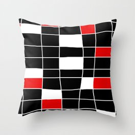 Rectangles white and red - black background Throw Pillow