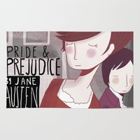pride and prejudice Area & Throw Rugs featuring Pride and Prejudice by Nan Lawson