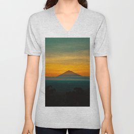 Mountain Volcano In The Distant Green Yellow Orange Sunset Hues Landscape Photography Unisex V-Neck