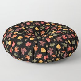 Autumn Leaves Pattern Black Background Floor Pillow