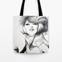 artgerm Tote Bags featuring Pepper Bella by Artgerm™