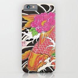 Japanese Koi Carp with Flowers (8) iPhone Case