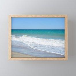 Sandy beach and Mediterranean sea Framed Mini Art Print