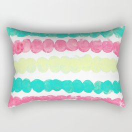 Pastel Finger Print, Mint, Pink, & Yellow Rectangular Pillow