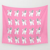 poodle Wall Tapestries featuring White Standard Poodle Art by Artist Abigail