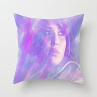 jennifer lawrence Throw Pillows featuring Jennifer Lawrence by Maria Renee